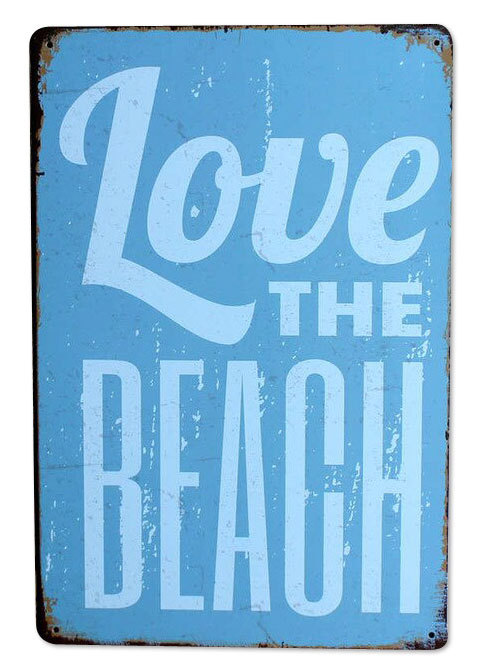 "Blechschild ""Love the Beach"""